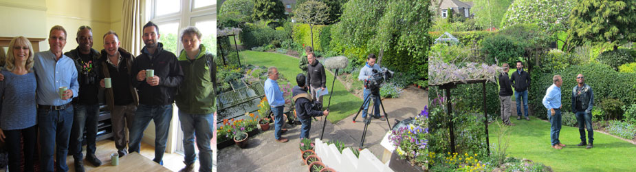 Us (on left) with a few of BBC team before filming | Setting up in our garden | David Lindo & Mark in garden