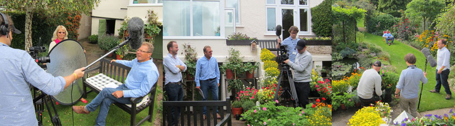 Jane (assisting!) and Mark being interviewed| Mark and BBC crew | Filming in our garden